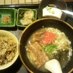 Okinawan soba set with fried rice, cold tofu and pickles