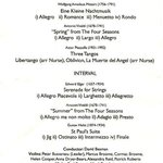 Programme of music played at Symphonia at Sunset 6 July 2013