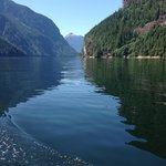flat calm waters inside Princess Louisa Inlet