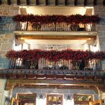 The balconies with flowers