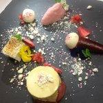honey truffle cream, strawberry, white chocolate, marshmallow