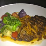 The NY Strip steak and fresh local vegetables
