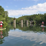 Approaching the historic rail trestle pilings and Old US 441 bridge on Terrora Lake in Tallulah
