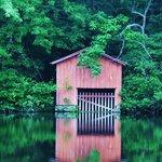 Boathouse on the lake at DeSoto Falls, Mentone, AL