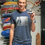 Tony Hawk visits ISHOF and donates an early trophy