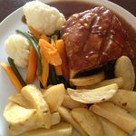 Steak Pie (perfect vegetables) and chips