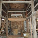 Inside barn with exhibits