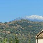 Teleaufnahme von unserer Terrasse auf den Etna