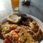 Morning breakfast MADE TO ORDER omelettes.  Like mine with NM Green Chile and the WORKS!