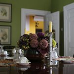 Beautiful arrangement decorates the Dining Room table
