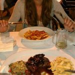filletsteak with strawberry and sweet wine sauce. and spicy penne al arabeata. very nice...