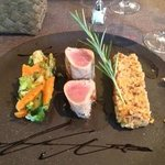 Dinner was delicious!  Seared tuna, risotto and vegetables.