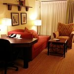 In-room work and seating areas