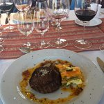 One of the course- so much delicious food and wine!!