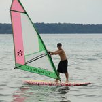 Wind surfing on Torch Lake is thrilling