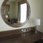 Nice counter with outlets and mirror
