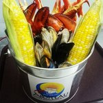 Our new bucket,  3 snow crab sections, 3 market size lobsters, mussels, clams and 2 corn on the
