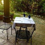 Romantic breakfast on a private patio