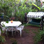 ... mit schönem Garten hinter der Mauer.