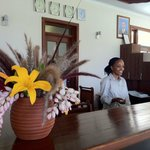 Front desk with Joyce helping clients