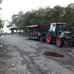 The tractor-train which takes visitors around the island.