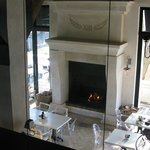 Lovely,large fireplace with downstairs dining area