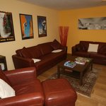 Family room with TV, DVD, Pool table and gym equipment