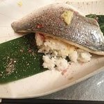 Sea Bream maerinated in Cherry leaves and steamed