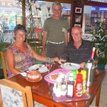 Us with the owner George and an excellent Bulgarian stew