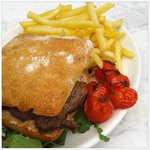 Steak Ciabatta sandwich with a scrummy dressing and crispy french fries