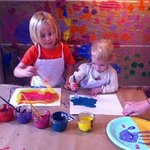 Cora and Harrison painting