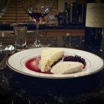Dessert consisted of Skyr cake and skyr triffle with crowberry liquor.