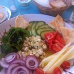 My apetizer Marinated Feta Cheese with fresh vegetables