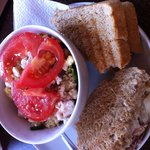 Tuna melt with onions and cucumbers and couscous salad with feta, herbs and raisins. AMazing. De