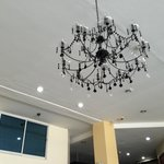 The reception area/lobby chandelier