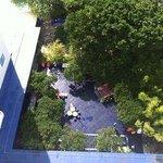 Ariel view of garden from balcony