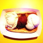 First Friday: 3 Scoops of your choice ice cream on a toasted bun.
