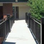 Outdoor walkway connecting buildings