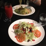 disappointing Greek salad and small daiquiri