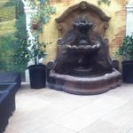 fountain and seating area
