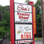 Sign in front of Sam's Olde Tyme Hamburgers