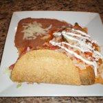 Taco, Chili Relleno, Enchilada, Rice, & Beans.