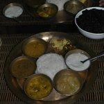 Vegetarian Thalli with Black Rice.
