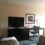 TV, Desk, Mini Fridge, and Microwave