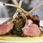 Domestic Lamb Chops- Organic Swiss chard stew, Garbanzo beans, Tahini