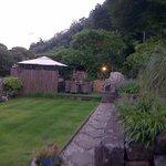 Garden view towards the hot tub