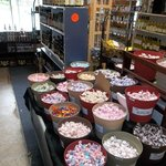 Saltwater taffy is to the right of the order counter.