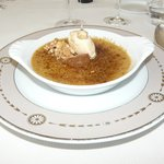 Menu de la Broue - Dessert : Crème brûlée chataigne avec glace vanille