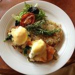 Eggs Natasha-popular item on The Stone Brunch Menu, served Sundays 10:30-3
