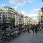 Bustling Rue St Antoine in front of Pointe Rivoli